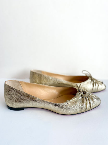 Christian Louboutin Embossed Leather Ballet Flats Gold Side