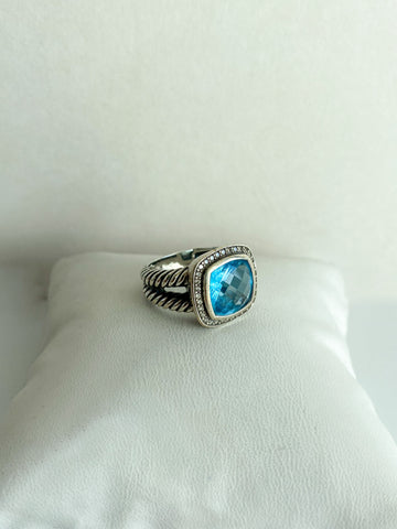 David Yurman Albion Ring Blue Topaz Diamonds Silver