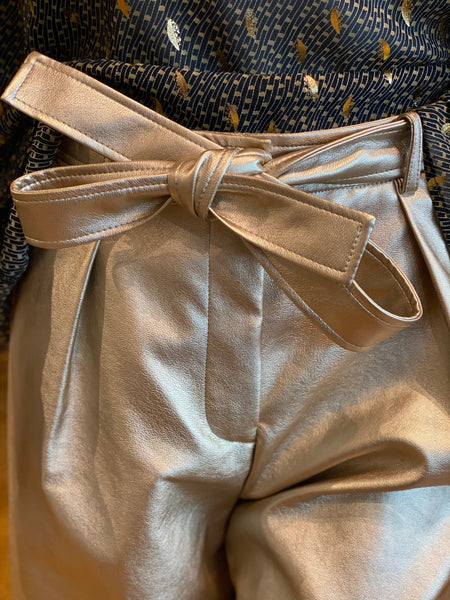 Frnch Paris Faux Leather Culotte Pants Bow Detail