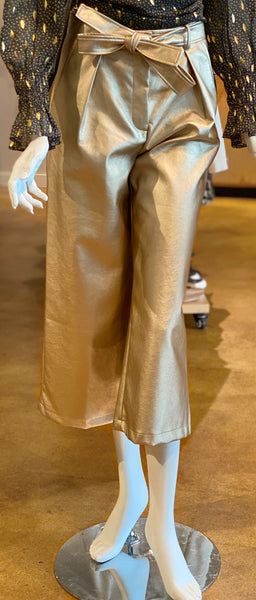 Frnch Paris Faux Leather Culotte Pants Front