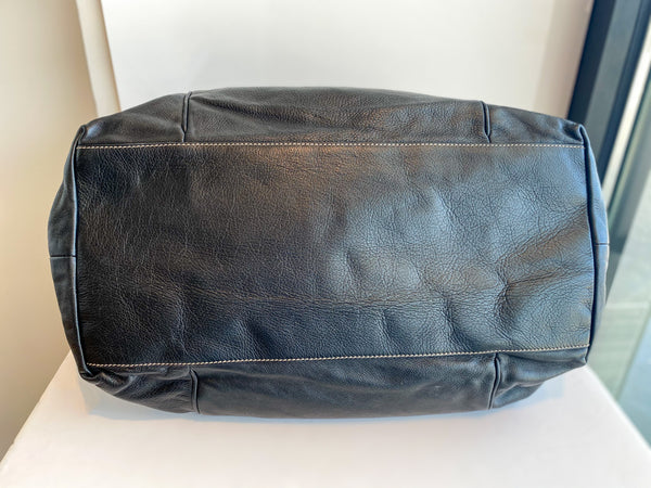 Gucci Black Leather Weekender Bag Bottom of Bag