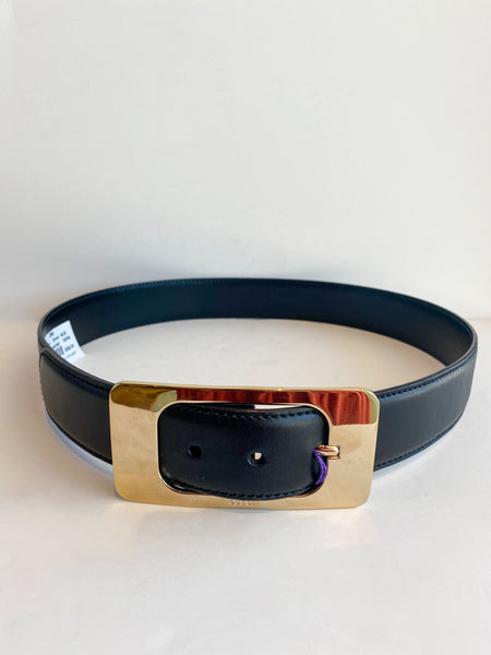 Gucci Black Leather Belt Gold Buckle Front