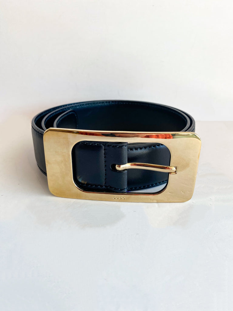 Gucci Black Leather Belt Gold Buckle