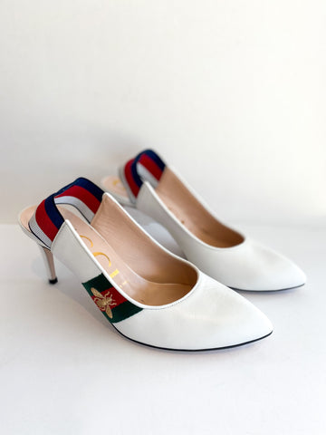 Gucci Sylvie White Pump Web Bee