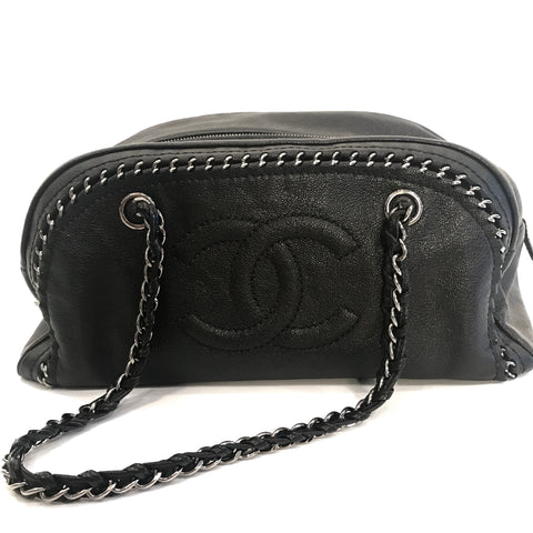 SOLD - Chanel Embossed CC Silver Chain Ligne Shoulder Bag