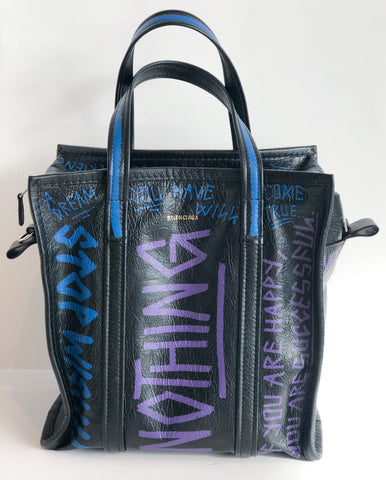 Balenciaga Black Graffiti Shopper Tote Front of Bag