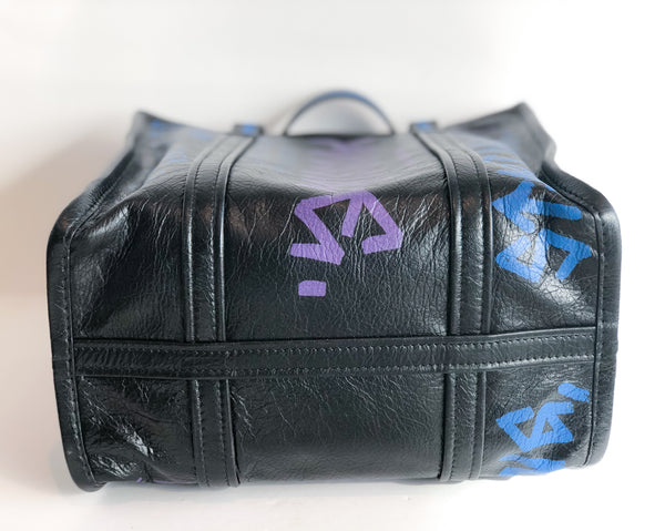 Balenciaga Black Graffiti Shopper Tote