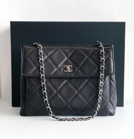 Chanel Caviar Leather Tote Black Front of Bag With Box