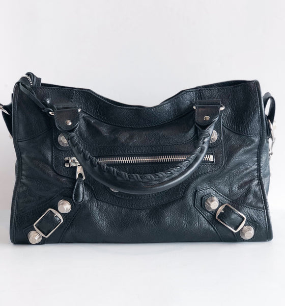 Balenciaga Motocross Classic City Bag Black Front of Bag