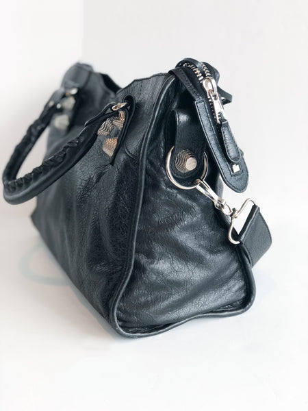 Balenciaga Motocross Classic City Bag Black Side of Bag
