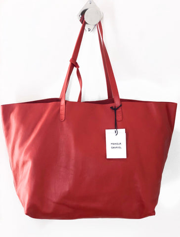 Mansur Gavriel Oversize Lambskin Leather Tote Red