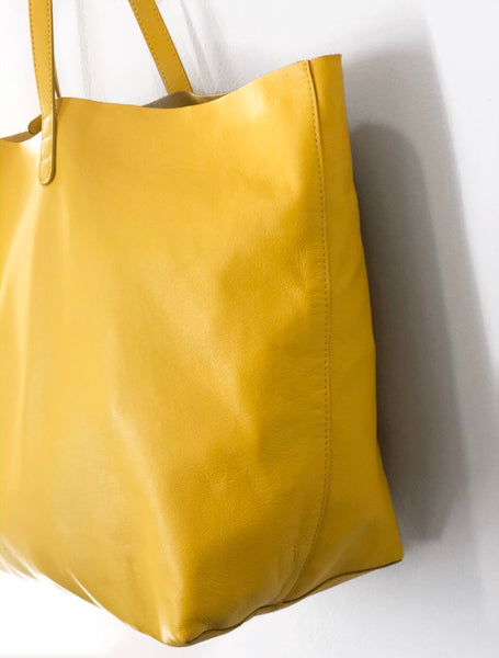 Mansur Gavriel Oversize Lambskin Leather Tote Yellow Side of Bag