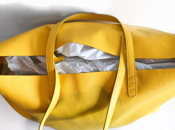 Mansur Gavriel Oversize Lambskin Leather Tote Yellow Top of Bag