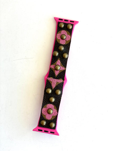 pink and brown watch band