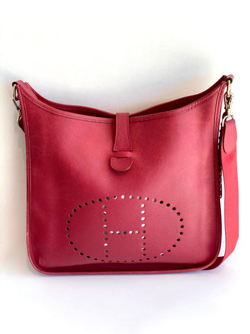 red leather hermes bag