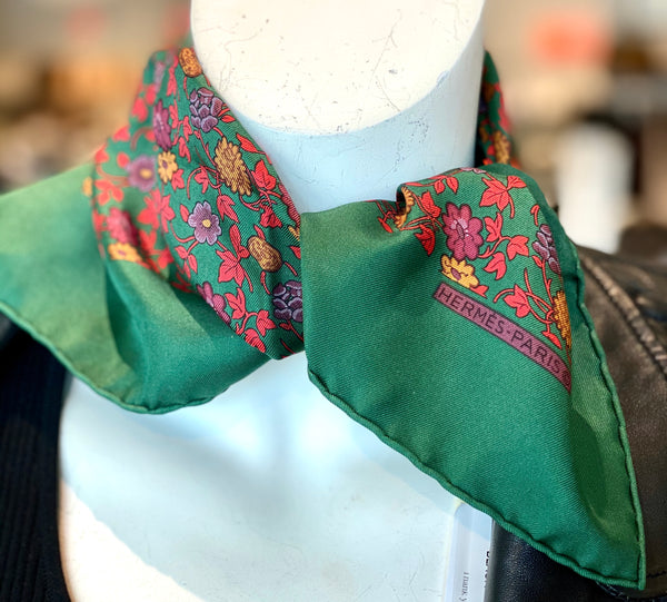 hermes scarf green with flowers