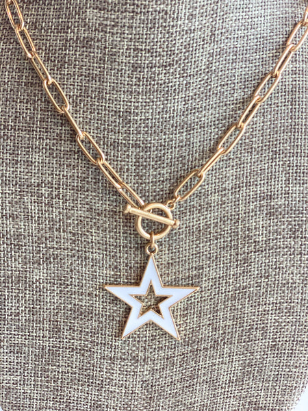 small white star interlock necklace