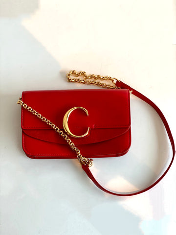chloe chain clutch red