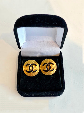 gold designer button earrings