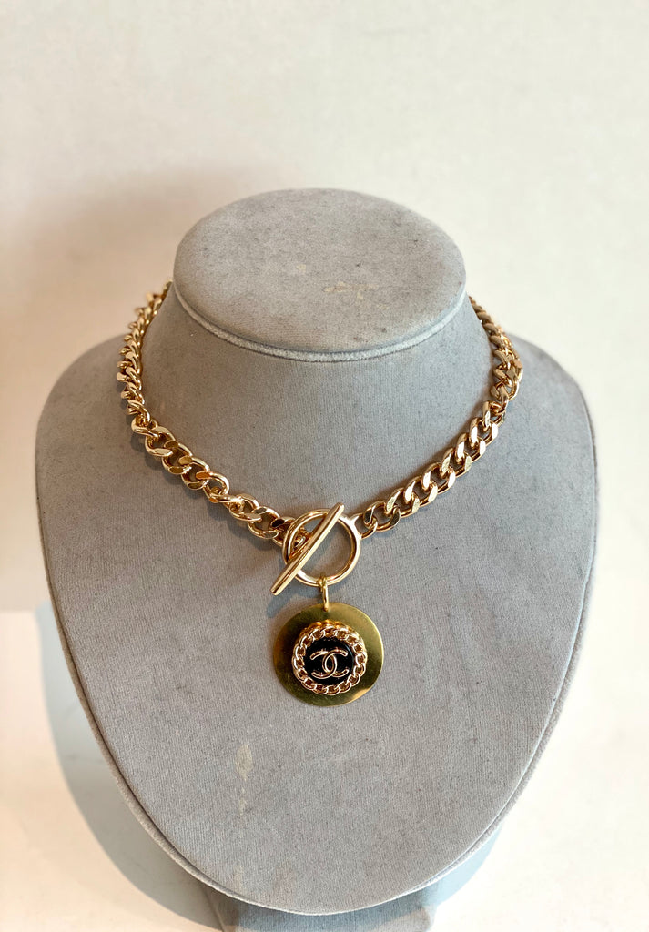 chanel button necklace gold
