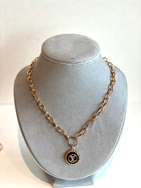 LV button necklace gold