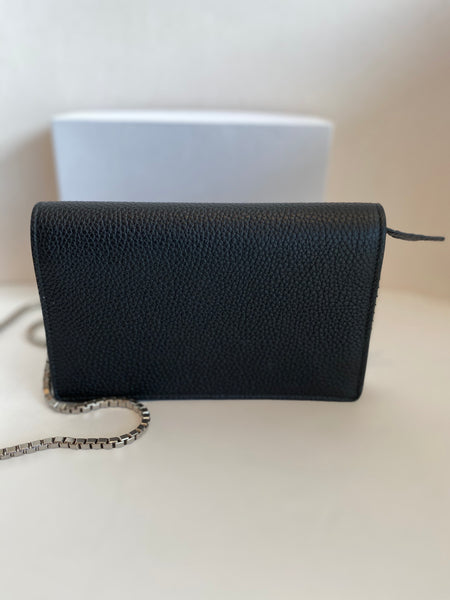 back of black wallet chain purse