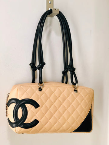 Chanel Cambon Bowler Leather Bag Tan and Black