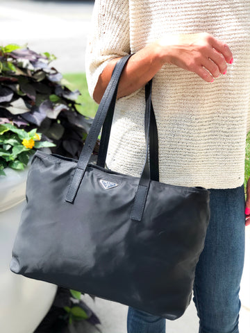 Prada Medium Black Nylon Tote
