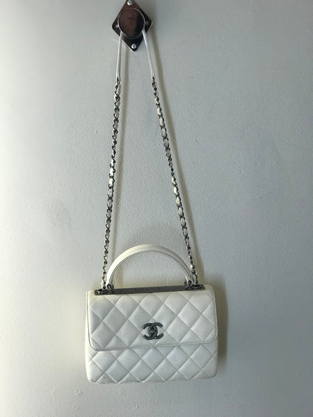 Chanel Flap Bag with Top Handles Ivory