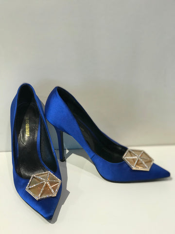 SOLD Nicholas Kirkwood Eden Pav Hexagon Plate Satin Pumps