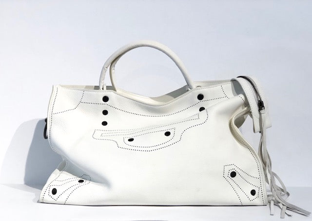 Balenciaga Motocross Blackout City Bag White