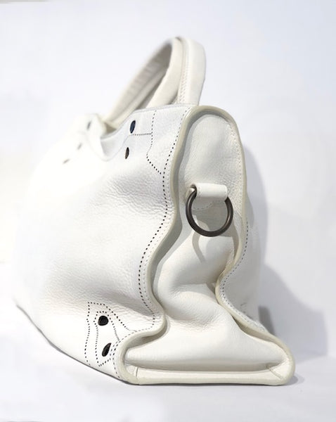 Balenciaga Motocross Blackout City Bag White Side of Bag