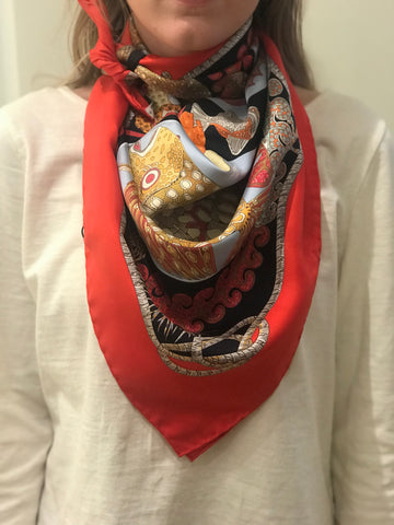 SOLD Hermes Silk Grand Fonds Scarf