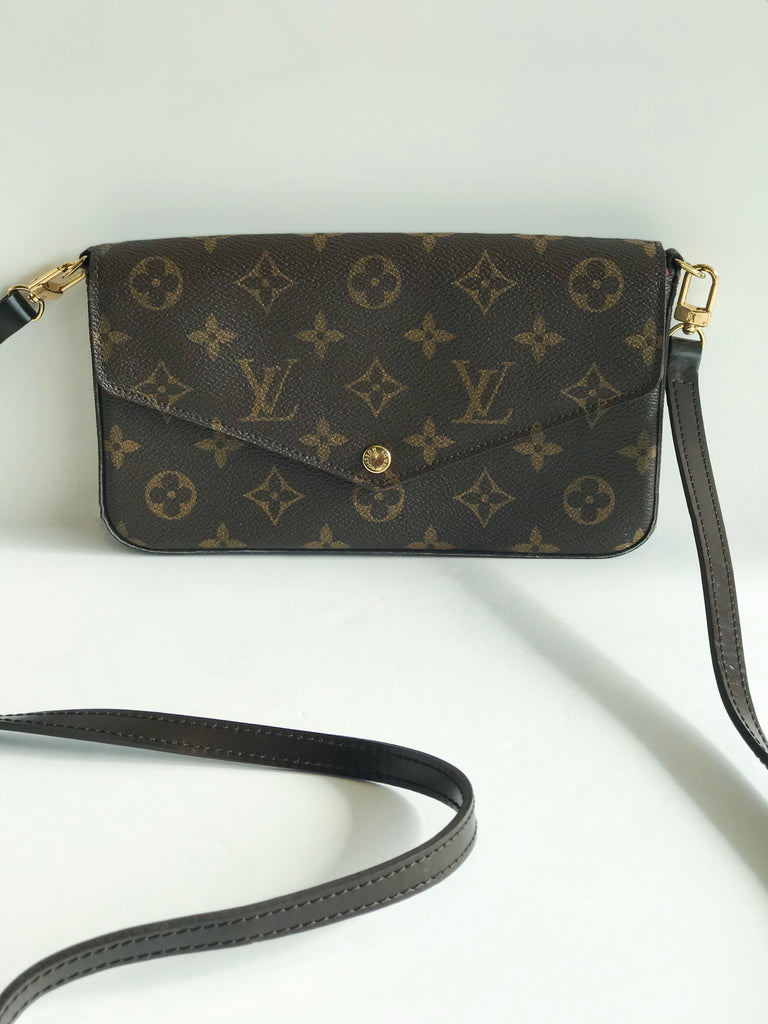 SOLD Louis Vuitton Pouchette Crossbody With Leather Strap