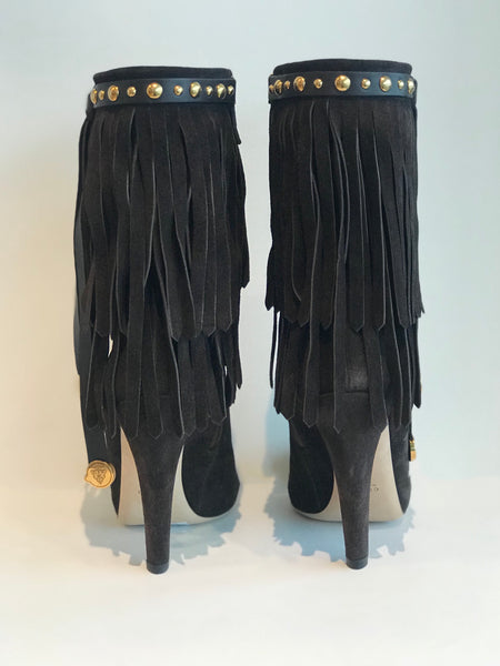Gucci Fringe Heeled Booties Black