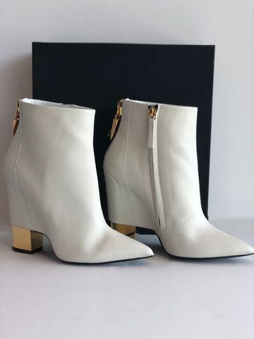 RETURNED Giuseppe Zanotti White & Gold Booties