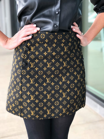 Louis Vuitton A-line Mini Monogram Button Skirt