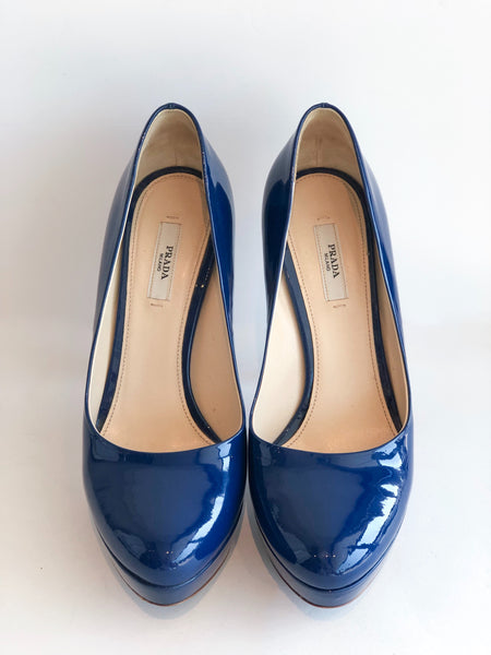 Prada Patent Leather Platform Heels Blue