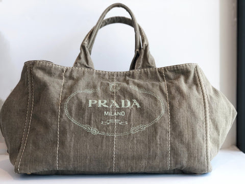 Prada Denim Militare Tote Bag