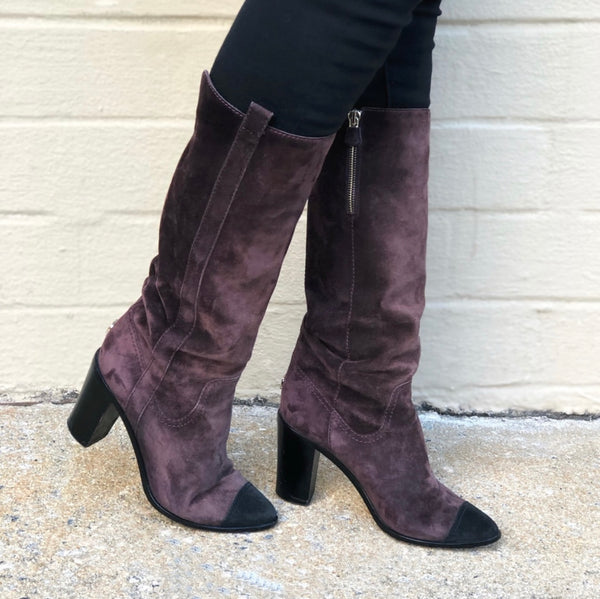SOLD Chanel Suede Heel Boots