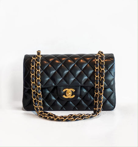 Chanel Quilted Lambskin Double Flap Bag Black