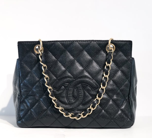 Chanel Petite Timeless Tote Black Front of Bag