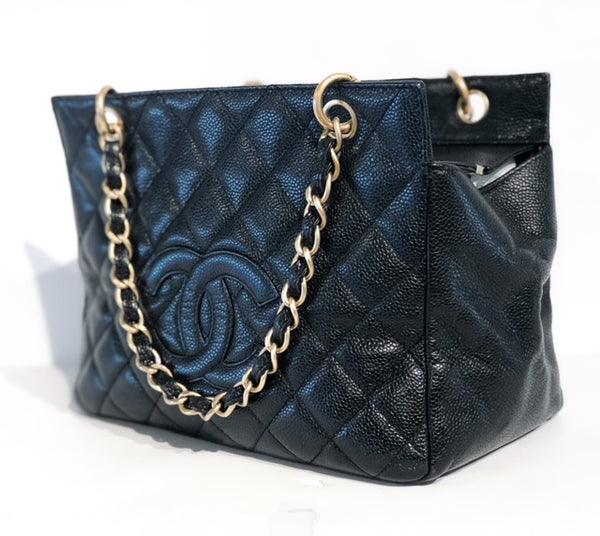 Chanel Petite Timeless Tote Black Side of Bag
