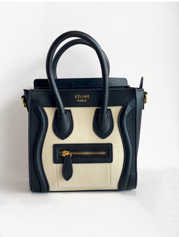 Celine Nano Luggage tote Black and Ivory