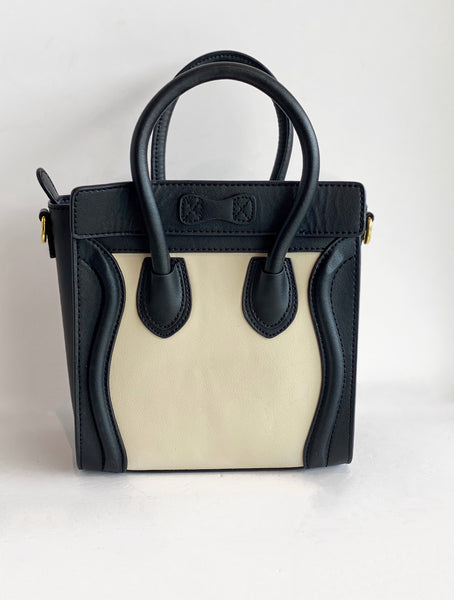 Celine Nano Luggage tote Black and Ivory Back of Bag