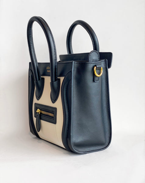 Celine Nano Luggage tote Black and Ivory Side of Bag