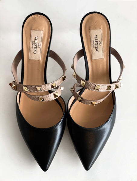 Valentino Rockstud Mules Black Top of Shoes
