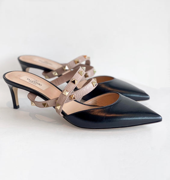 Valentino Rockstud Mules Black Side of Shoes