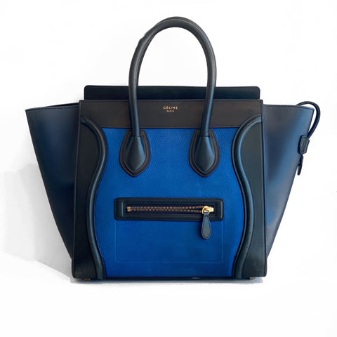 Celine Luggage Tote Mini Black and Blue Front of Bag