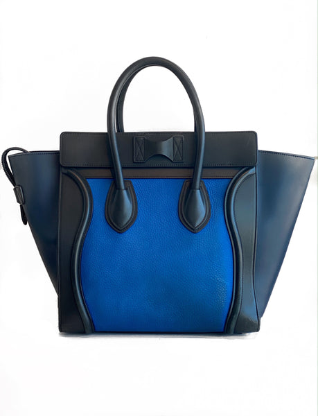 Celine Luggage Tote Mini Black and Blue Back of Bag